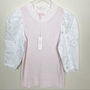 rebecca taylor crimp cotton eylet sweater